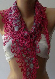 Pink   Elegance Shawl / Scarf with Lace Edge by womann on Etsy, $9.90