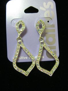 new sparkly silver tone special occasion earrings new dangle iridescent stones #Claires #Dangle