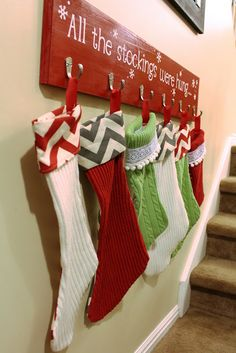 ****STOCKINGS****No Mantle Stocking Solution.  Like put by stairs. Christmas Stockings, Advent Calendar, Holiday Decor, Home Decor, Homemade Home Decor, Christmas Leggings, Interior Design, Decoration Home, Home Interiors