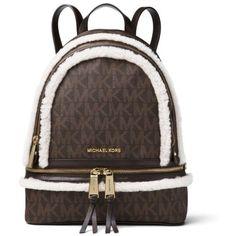 Michael Michael Kors Brownnatural Rhea Zip Medium Back Pack ($328) ❤ liked on Polyvore featuring bags, backpacks, michael michael kors, laptop bags, brown laptop bag, vertical-zip laptop backpack and zip close bags