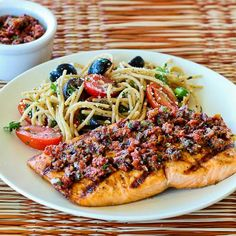 Grilled Salmon Recipe with Sun-Dried Tomato, Olive, Caper, and Parsley Relish from Kalyns Kitchen (The salmon and relish are #SouthBeachDiet Phase One, but not the salad shown in the photo.)