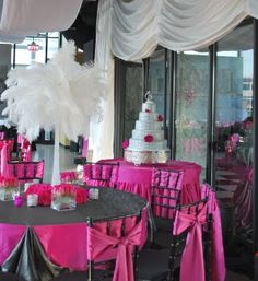 Wedding Decor- Not so hot for the centerpieces but love the pink and grey combo