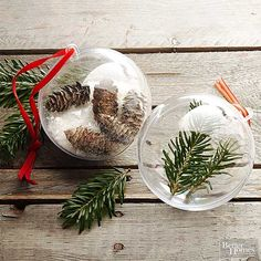 Customize this super easy project to feature your favorite wintry natural materials like pinecones, artificial snow, or pine tree clippings. Fill one half of a plastic ball ornament with your chosen items and then seal the ornament halves together with hot glue. Attach a festive-color ribbon to hang./