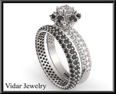 Black Diamond Wedding Ring Set.Halo Engagement, Black Diamond,Pave, Halo Wedding Ring,White Gold,Matching Wedding Ring