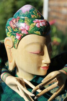 Buddha Tattoo Doll Puppet Figure Hand Painted Hand Carved Wood ikat Balinese