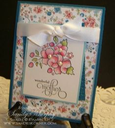 handmade Mother's Day card ... Stampin Up's Bordering on Romance stamp set  ... sweet patterned paper ... lovely coloring ... pearls on the flowers ... great card!!