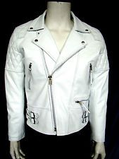 SPEED MENS  FASHION CLASSIC SPORT MOTORCYCLE WHITE LEATHER BIKER JACKET