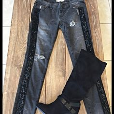 Super cute Free people distressed jeans w/sequins! Charcoal gray jeans distressed with black ribbon and sparkly beading on sides- soo cute! Free People Jeans Skinny