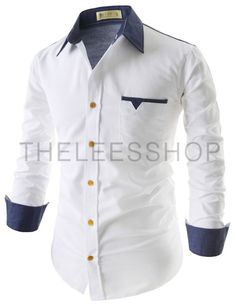 (EVS95-WHITENAVY) Mens Casual Slim Fit Two-Tone 1 Chest Pocket Patched Long Sleeve Shirts