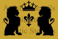 Vintage French Lions Wreath with Crown Stencil    Image size: 10 x6. 7 inches
