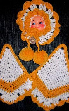 vintage Potholders - crochet - doll face  orange/gold & white
