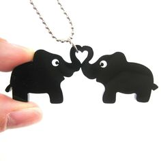 Kissing Elephant Heart Shaped Pendant Necklace in Black Acrylic Acrylic Shapes, Laser Cut Jewelry, Longing For You, Black Acrylics, Small Heart, Animal Jewelry, Heart Shapes, Dog Tag Necklace, Kissing