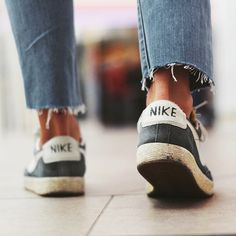 Chopped for cropped. | Denim cut to ankle length. Paired with Nike sneaks. | Source: iconosquare | Pinned via slufoot