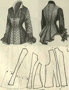 The Victorian Tygodnik Mód Stylish basque bodice 1870s Fashion, Victorian Fashion, Vintage Fashion, Historical Costume, Historical Clothing, Vintage Sewing Patterns, Clothing Patterns, Vintage Outfits, Patron Vintage