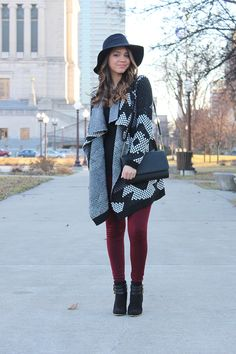 Oversized cardi + a pop of color! By My Trendy Heart