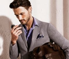 mauve shirt, pocket square mensfashionworld:    Massimo Dutti 2012 (Ben Hill, model)
