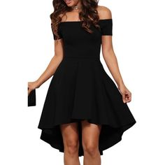 Black Off Shoulder Cocktail Party Skater Dress (81 RON) ❤ liked on Polyvore featuring dresses, special occasion dresses, evening dresses, holiday party dresses, party dresses and off shoulder dress
