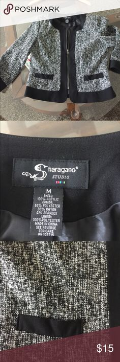 Sharagano Studio zip front jacket. Very nice black trim zip front jacket.  Can be worn as a jacket or looks great as a shirt jacket with skirt or pants. sharagano studio Jackets & Coats Blazers