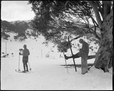 "Film party skiing on Hotel Kosciusko slopes, ca. 1925 (original envelope marked ""Mr Marks"", portraits incl. and a C & W cinema camera.) [Possibly the film ""Joe"", 1924), by Sam Hood"