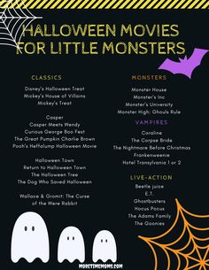 Halloween Movie List for Little Monsters Disney's Halloween Treat, Halloween 2015, Disney Halloween, Cute Halloween, Holiday List, Holiday Movie, Casper Meets Wendy, Halloween Movies List, Mickey House