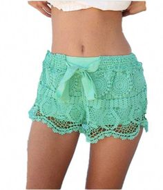d7b6ae4e6d8 New Zanzea Summer Casual Fashion Women Girl Lace Print Hem Crochet Chiffon  Belt Shorts Plus Size