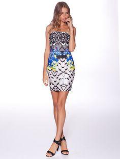 Honey & Beau 'Santorini' Body Con Dress in Peacock Print – Lotus Boutique