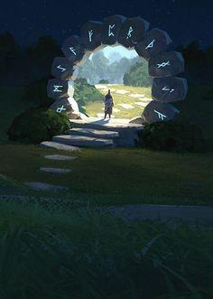 Atmospheric Fantasy Artworks — Time portal by Thomas Stoop #FantasyLandscaping
