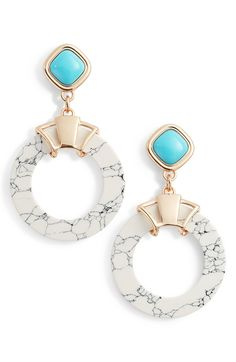 Stone Circle Earrings, Main, color, Turquoise/ Howlite