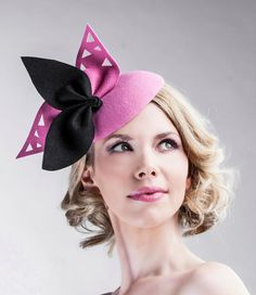 Pink and Black Wool Cocktail Pillbox Mini Hat - Can be Made in Other Colours - Handmade Bow Accessories - Fascinator - All Year Round Hats