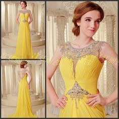 free shipping 2016 luxury crystal formal brides beaded pink long sexy chiffon yellow evening party prom gowns Graduation Dresses