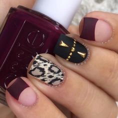 """""""Matte, studs & merlot tips Products used: ▪️Wine Red - @essiepolish """"In The Lobby"""" (YES, you need it. perfection) ▪️Nude Base - OPI """"My Vampire Is…"""""""