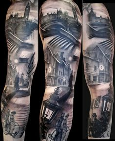 AWESOME COOL UNIQUE REALISTIC & 3D TATTOO TATTOOS - Gray Scale Street Scene Body Art - JANE BORDEAUX MUSIC INSPIRATIONAL IMAGES - http://www.janebordeaux.com