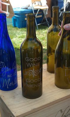 Etched wine bottles. I can etch the glass too:)