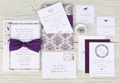 Purple Rustic Elegant Woodland Fabric Wedding Invitation via Oh So Beautiful Paper: http://ohsobeautifulpaper.com/2014/05/purple-woodland-fabric-wedding-invitations/   Design + Photo: Blue Magpie #wedding