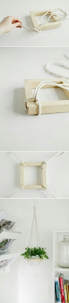DIY Plant Stand Ideas for Indoor and Outdoor Decoration is part of Diy decor - Before you start thinking about buying more bookshelves for your pots, let me present you to your finest plantloving buddy; the DIY plant stand Diy Projects To Try, Craft Projects, Creation Deco, Ideias Diy, Deco Floral, Home And Deco, Hanging Planters, Hanging Wire, Fall Planters