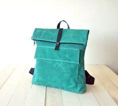"""Gewachste Canvas Rucksack in türkis - Baumwolle verstellbare Straps - Foldover-Reißverschluss - Leder Zubehör - 15 """"Laptop - wasserdicht"""