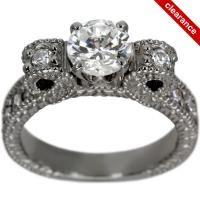 Antique Heavy Milgrain Engagement Setting For Any Shape Diamond (12041)