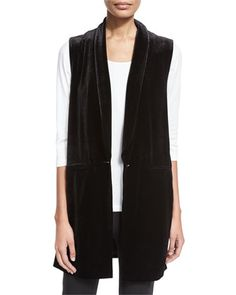 Velvet Long Vest, Black by Joan Vass at Neiman Marcus.