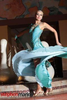 "Kristina Lee wearing Ballroom dance gown ""Living Waters"" by www.ZhannaKens.com"