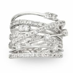 JanKuo Jewelry Silver Tone Cubic Zirconia Wide Band Cocktail Ring with Gift. in Jewelry & Watches, Fashion Jewelry, Rings Bling Bling, The Bling Ring, Jewelry Box, Jewelry Rings, Silver Jewelry, Jewelry Accessories, Fine Jewelry, Silver Ring, Jewlery