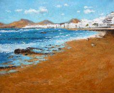 Cuadro de un paisaje al oleo de la playa de las Canteras en Las Palmas. Un cuadro de estilo impresionista de esta playa tan famosa