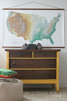 """Schoolhouse Electric Topographic USA Wall Map (57"""" x 37"""".  Hot glued to stained trim board and hung from braided jute"""