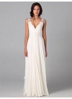 Fashion A-line V-neck Beading Sleeveless Floor-length Chiffon Dress