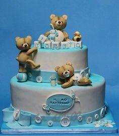 Christening Cake with Teddy Bears Cupcake Cake Designs, Cupcake Cakes, Teddy Bear Cakes, Teddy Bears, Christening Cake Boy, Baby Shower Cakes, Baby Cakes, Shower Bebe, Dessert Decoration