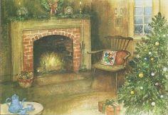 Vintage Christmas Cards, Christmas Greeting Cards, Christmas Greetings, Christmas Fireplace, Hallmark Christmas, Living Room With Fireplace, 1970s, Painting, Ebay