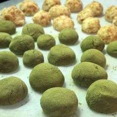 White Chocolate Green Tea Truffles. Infuse 3 tbsb of a nutty and/or tropical-flavored green tea in 4oz(weight) heavy cream overnight. Strain tea out of cream. Warm cream as you melt 12 oz white chocolate. Stir cream into white chocolate in 3 additions over the course of 15-20 min. Pour over parchment and let set 24 hrs to allow ganache to crystallize. Roll into balls and coat with matcha powder or toasted cocounut.
