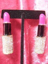 Purple Lipstick Earrings