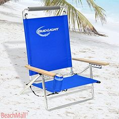 Merveilleux Budlight Deluxe 5 Pos Lay Flat Aluminum Beach Chair W/ Cup Holder 250 Lb  Load