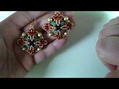 DIY- Tutorial orecchini Narcissa con perline Arcos, Superduo, mezzi cristalli e cipollotti - YouTube