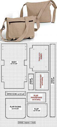 new ideas for diy bag pattern crafts Handbag Patterns, Bag Patterns To Sew, Messenger Bag Patterns, Messenger Bag Tutorials, Diy Messenger Bag, Backpack Pattern, Sewing Crafts, Sewing Projects, Sewing Toys